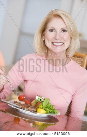 Woman Enjoying Healthy Meal, Mealtime