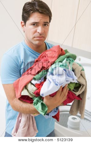 Man Upset Doing Laundry