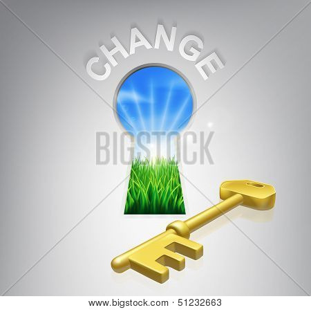Key to change conceptual illustration of an idyllic sunrise over fields seen through a keyhole with a golden key and success sign over it. Could be used in self help or improvement or motivational context. poster