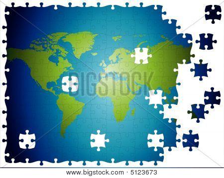 World Map Jigsaw, Layered And Fully Editable.