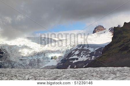 Svinafellsjokull Glacier with hikers