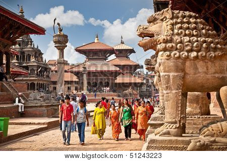 KATHMANDU, NEPAL-MAY 19: Street at the Durbar Square,Lalitpur city,  on May 19, 2013 in Kathmandu valley, Nepal. It is one of the three royal cities in the Kathmandu, a very popular spot for tourists.