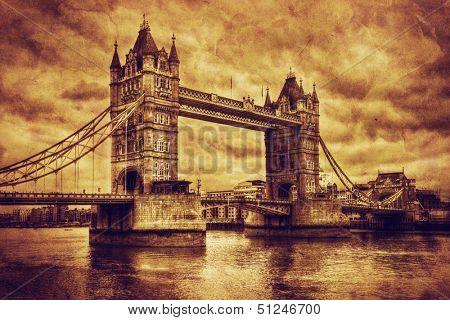 Tower Bridge in London, the UK. Artistic vintage, retro style