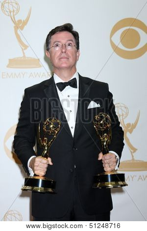 LOS ANGELES - SEP 22:  Stephen Colbert at the 65th Emmy Awards - Press Room at Nokia Theater on September 22, 2013 in Los Angeles, CA