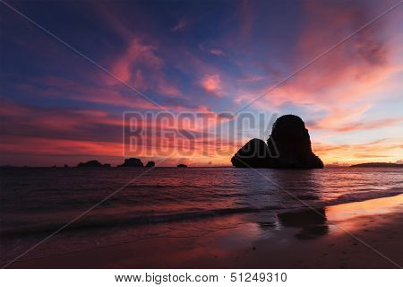 Tropical holidays sunset beach. Pranang beach. Railay , Krabi Province Thailand