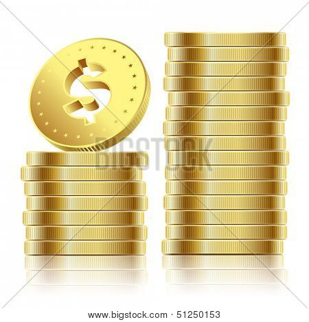 Illustration of Golden Dollar Coins Isolated on White Background.