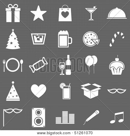 Party Icons On Gray Background
