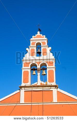 Church Bell Hanging From Arch Of Bell Tower, Fiskardo Kefallonia Greece