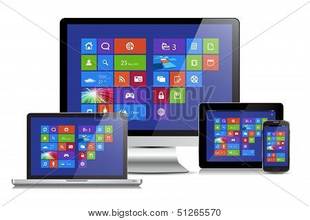 This image is a vector file representing a metro interface design concept on various media devices. poster