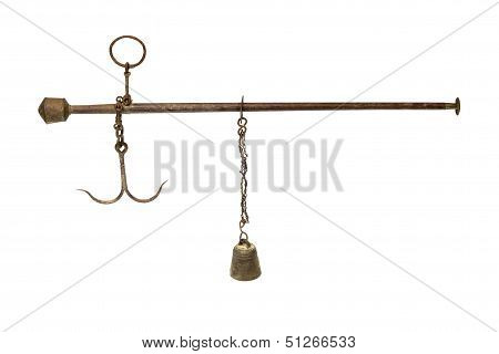 Antique Asian Steelyard Isolated On White