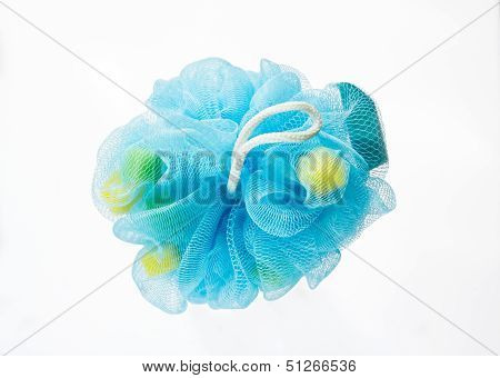 Soft Blue Bath Puff Or Sponge Isolated On White Background