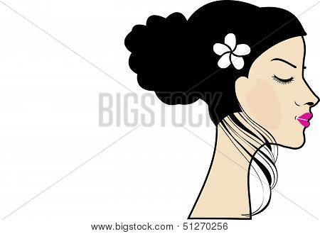 Drawing of a woman with a bun and floral accessory