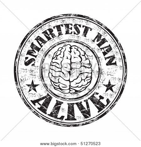 Smartest man alive rubber stamp