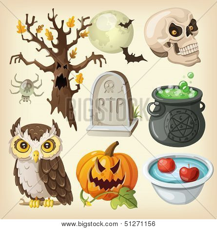 Set of colorful items for the day of the dead - halloween. poster