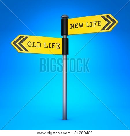 Old Life or New Life. Concept of Choice.