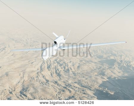 A computer-generated Global Hawk unmanned aerial vehicle flies on a surveillance mission over Afghanistan. poster