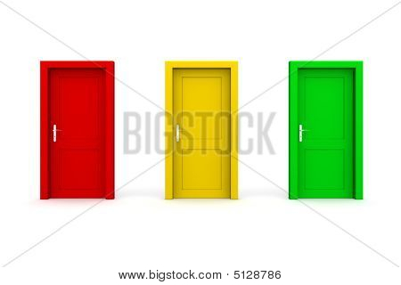 Three Coloured Doors - Red, Yellow, Green