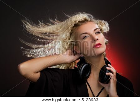 Beautiful Young Woman With Headphones