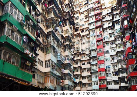 Overpopulated residential building in Hong Kong