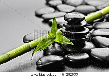 zen basalt stones on the black