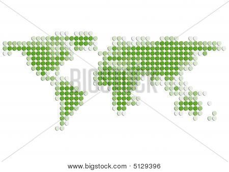World Map Green 3D Dots (xxl)