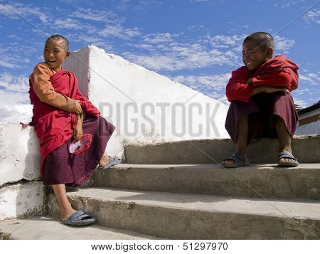 Thimpu, Bhutan - October 20, 2010: Buddhist Monk With Spiderman Mask