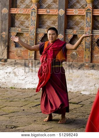 Trongsa, Bhutan - October 23, 2010: A Monk Rehearsing For The Trongsa Tsechu On Oct. 23, 2010 In Tro