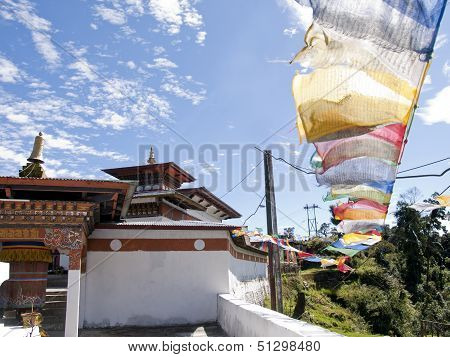 Temple In Bhutan With Colorful Prayerflags