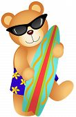 Scalable vectorial image representing a surfing teddy bear, isolated on white. poster