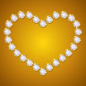 vector heart made of diamonds on golden background poster