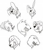 Aggressive animal heads. Set of black and white vector tattoo designs. poster