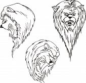 Aggressive lion heads. Set of black and white vector tattoo designs. poster