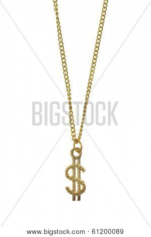 Gold jewelry with dollar sign on white background