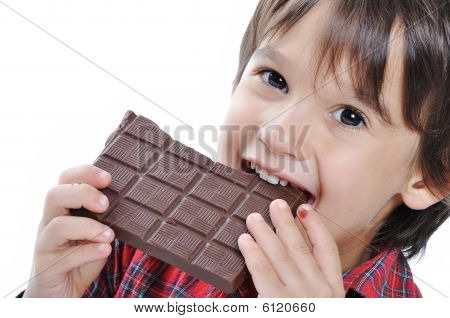 Very Cute Kid With Chocolate, Isolated
