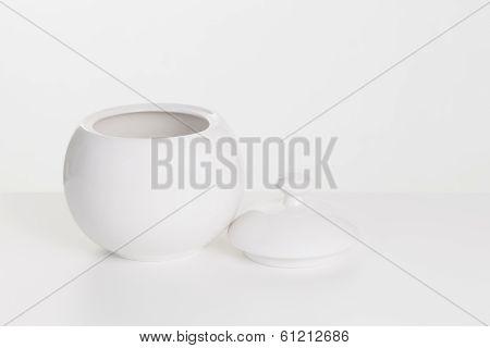 White Ceramic Sugar-bowl
