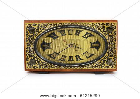 Old Antiquarian Clock Isolated On White