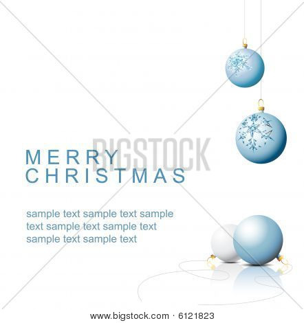 ..blue Christmas Bulbs With Snowflakes Ornaments