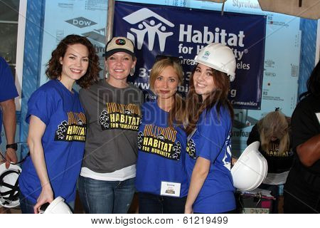 LOS ANGELES - MAR 8:  Rebecca Herbst, Maura West, Emme Rylan, Haley Pullos at the 5th Annual General Hospital Habitat for Humanity Fan Build Day at Private Location on March 8, 2014 in Lynwood, CA