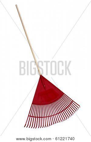 Red Rake on white