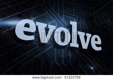 The word evolve against futuristic black and blue background