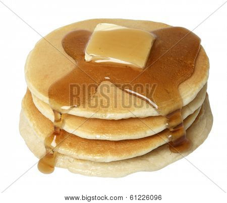Stack of pancakes on white