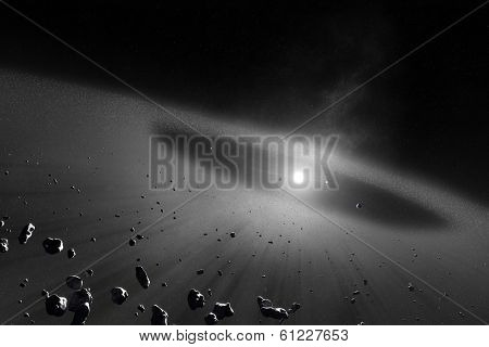 Asteroid belt  with inner four solar planets (Elements of this 3d image furnished by NASA)
