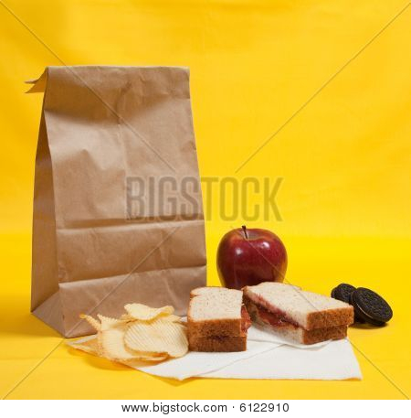 Sack Lunch With Peanut Butter Sandwich