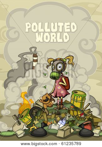 Child in a gas mask standing on a pile of garbage. With space for text top