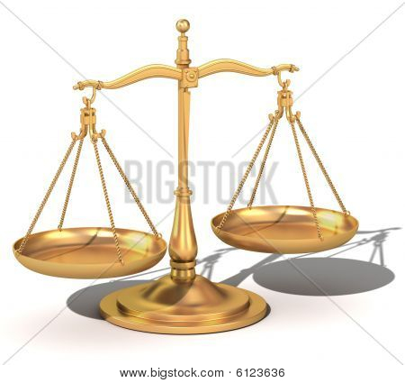 balance de oro 3D, la balanza de la justicia