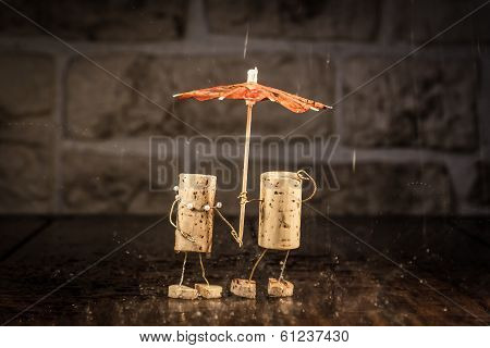 Wine Cork Figures, Concept Couple In The Rain