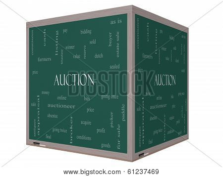 Auction Word Cloud Concept On A 3D Cube Blackboard