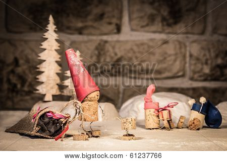 Wine Cork Figures, Concept Santa Claus With Presents