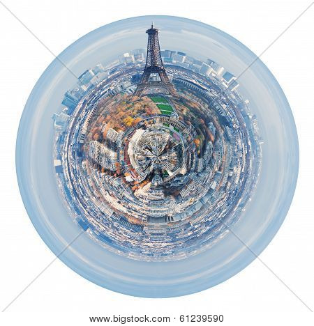 Eiffel Tower And Spherical Panorama Of Paris