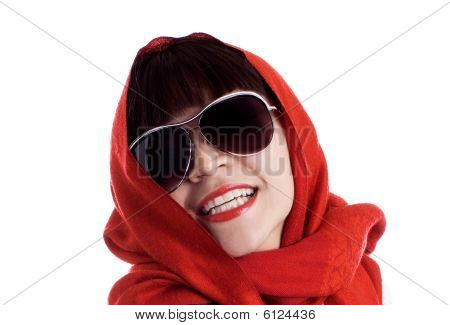 Beautiful Woman With Red Scarf And Sunglasses